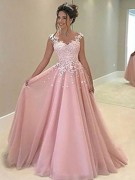A-Line/Princess Tulle Applique Floor-Length Sleeveless Sweetheart Dresses