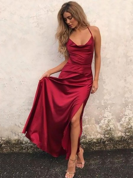 A-Line/Princess Elastic Woven Satin Ruffles Floor-Length Sleeveless Spaghetti Straps Dresses