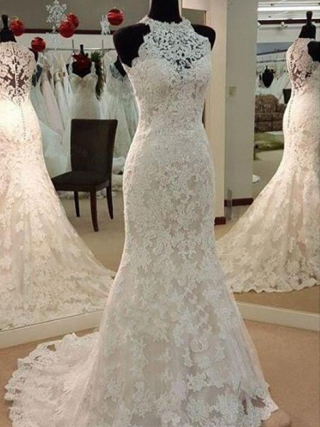 Sheath/Column Sweep/Brush Train Applique Scoop Sleeveless Lace Wedding Dresses