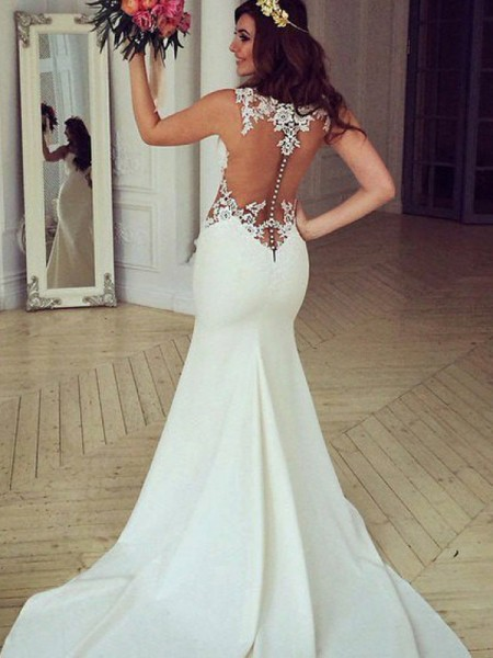 Trumpet/Mermaid Sweep/Brush Train Applique Scoop Sleeveless Lace Wedding Dresses