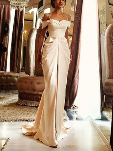 Sheath/Column Short Sleeves Off-the-Shoulder Long Wedding Dresses