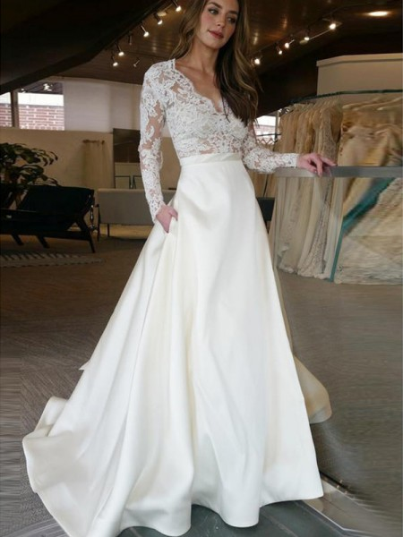 A-Line/Princess Sweep/Brush Train Applique V-neck Long Sleeves Satin Wedding Dresses