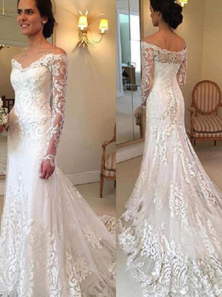 Trumpet/Mermaid Court Train Applique Off-the-Shoulder Long Sleeves Lace Wedding Dresses