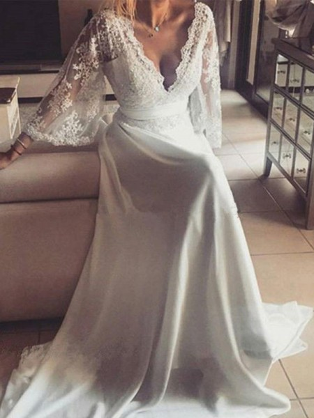A-Line/Princess Court Train Sash/Ribbon/Belt V-neck Long Sleeves Lace Wedding Dresses