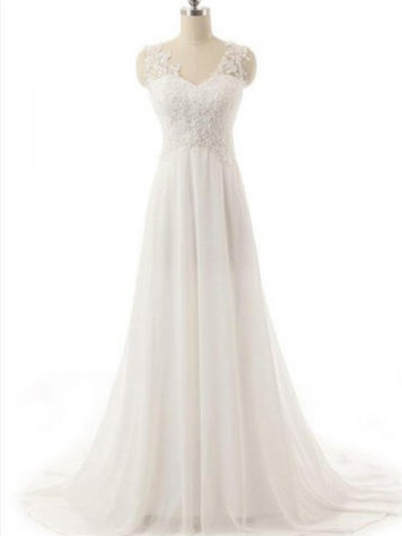 A-Line/Princess Sweep/Brush Train Lace V-neck Sleeveless Chiffon Wedding Dresses