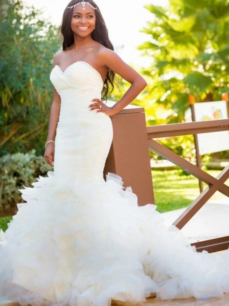 Trumpet/Mermaid Court Train Sweetheart Sleeveless Organza Wedding Dresses
