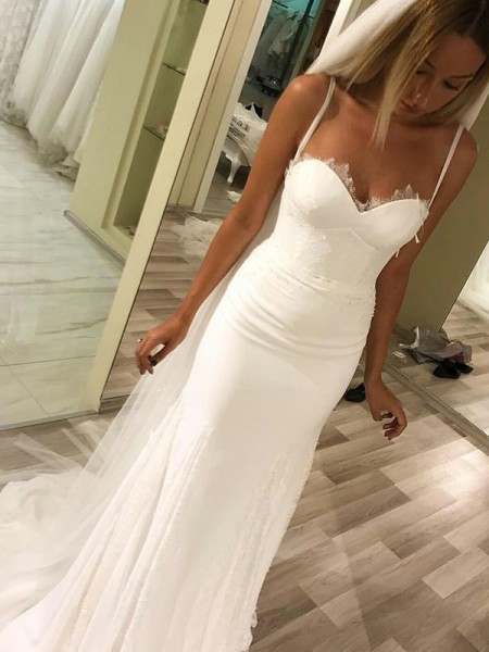 Sheath/Column Sweep/Brush Train Sweetheart Sleeveless Satin Wedding Dresses
