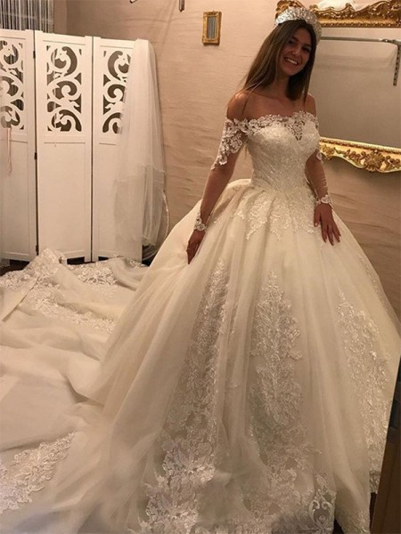 Ball Gown Cathedral Train Applique Off-the-Shoulder Long Sleeves Tulle Wedding Dresses