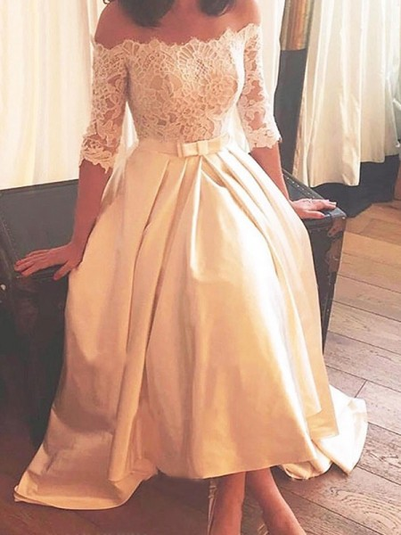 A-Line/Princess Asymmetrical Lace Off-the-Shoulder 1/2 Sleeves Satin Wedding Dresses
