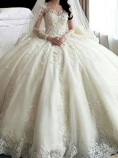 Ball Gown Cathedral Train Applique Scoop Long Sleeves Tulle Wedding Dresses
