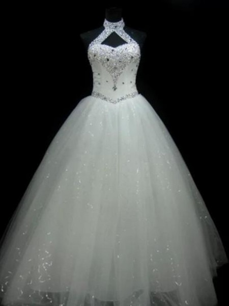 Ball Gown Floor-Length Beading Halter Sleeveless Tulle Wedding Dresses