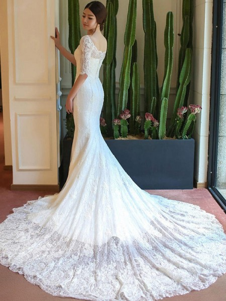 Trumpet/Mermaid Cathedral Train Applique Square 1/2 Sleeves Lace Wedding Dresses
