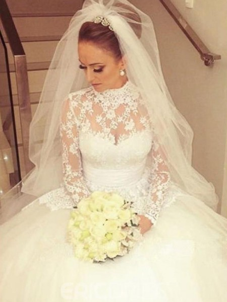 Ball Gown Cathedral Train High Neck Long Sleeves Lace Wedding Dresses