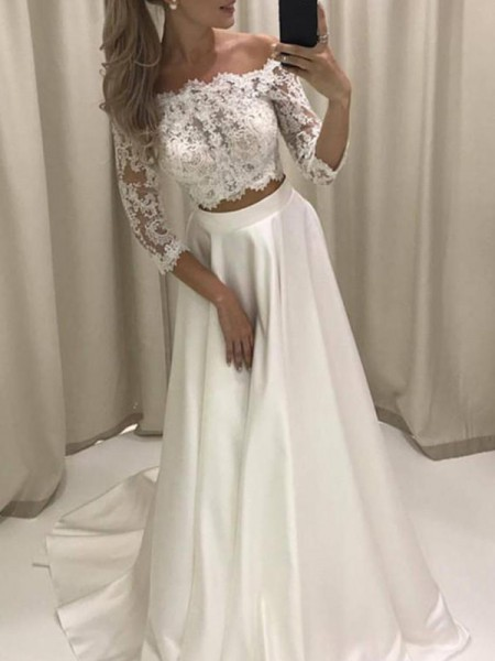 A-Line/Princess Court Train Applique Off-the-Shoulder 3/4 Sleeves Satin Wedding Dresses