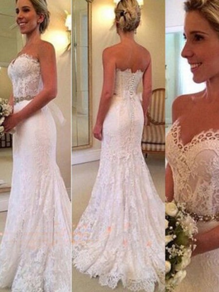 Trumpet/Mermaid Sweep/Brush Train Applique Sweetheart Sleeveless Lace Wedding Dresses