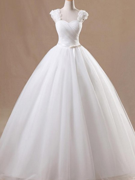 Ball Gown Floor-Length Ruffles Square Sleeveless Tulle Wedding Dresses