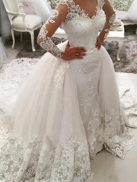 Ball Gown Cathedral Train Applique V-neck Long Sleeves Tulle Wedding Dresses