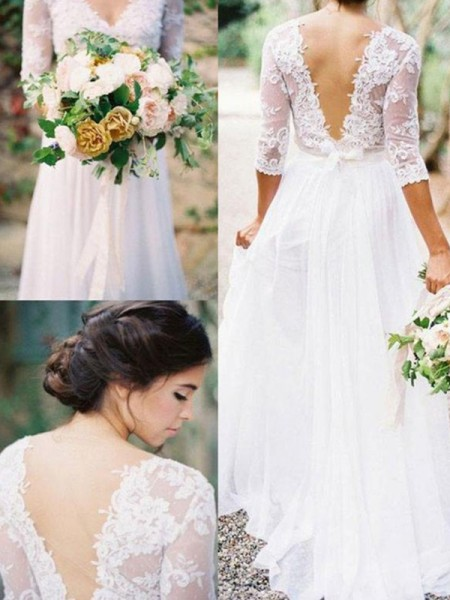 A-Line/Princess Floor-Length Applique V-neck 1/2 Sleeves Chiffon Wedding Dresses