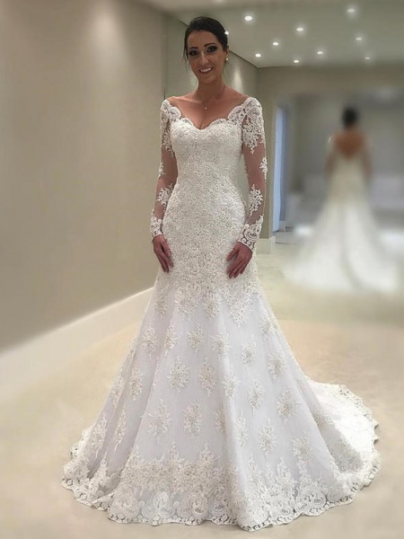 Trumpet-Mermaid Court Train Applique V-neck Long Sleeves Lace Wedding Dresses
