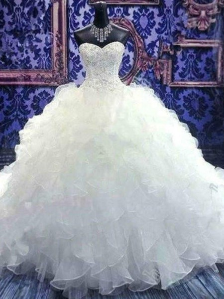 Ball Gown Chapel Train Beading Sweetheart Sleeveless Organza Wedding Dresses