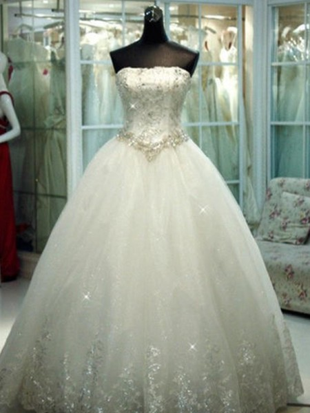 Ball Gown Floor-Length Beading Strapless Sleeveless Tulle Wedding Dresses