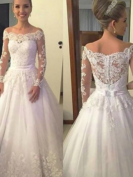 Ball Gown Court Train Applique Off-the-Shoulder Long Sleeves Tulle Wedding Dresses