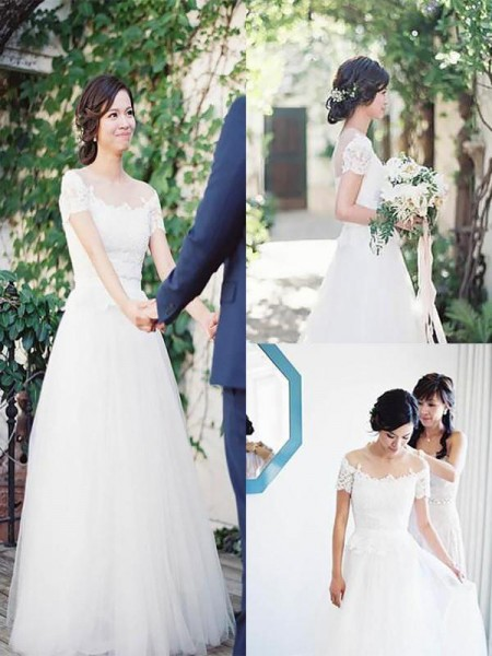 A-Line/Princess Sweep/Brush Train Lace Off-the-Shoulder Short Sleeves Tulle Wedding Dresses