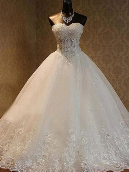 Ball Gown Floor-Length Beading Sweetheart Sleeveless Tulle Wedding Dresses