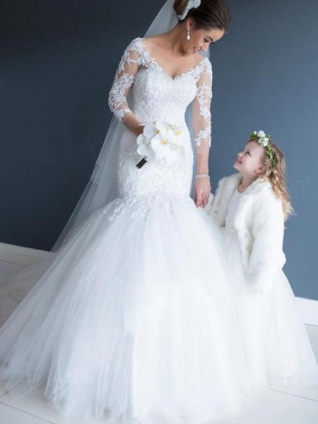 Trumpet/Mermaid Sweep/Brush Train Lace Off-the-Shoulder 1/2 Sleeves Tulle Wedding Dresses