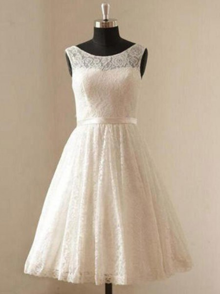 A-Line/Princess Knee-Length Sash/Ribbon/Belt Scoop Sleeveless Lace Wedding Dresses