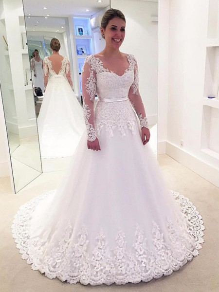 A-Line/Princess Sweep/Brush Train Applique V-neck Long Sleeves Tulle Wedding Dresses