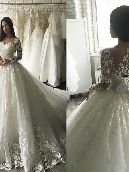 Ball Gown Court Train Applique Scoop Long Sleeves Tulle Wedding Dresses