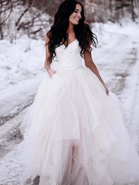 A-Line/Princess Floor-Length Ruched V-neck Sleeveless Tulle Wedding Dresses