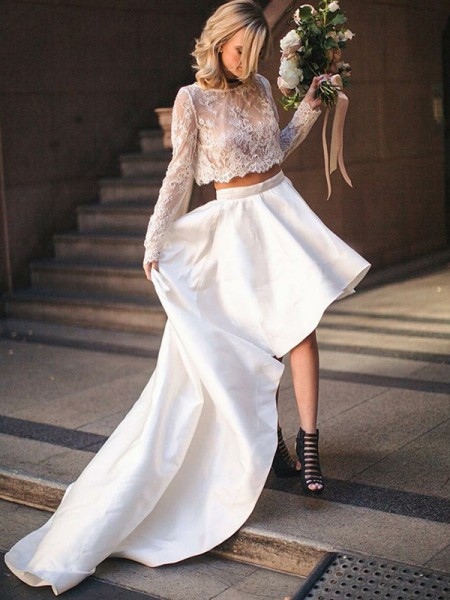 A-Line/Princess Sweep/Brush Train Lace Scoop Long Sleeves Satin Wedding Dresses
