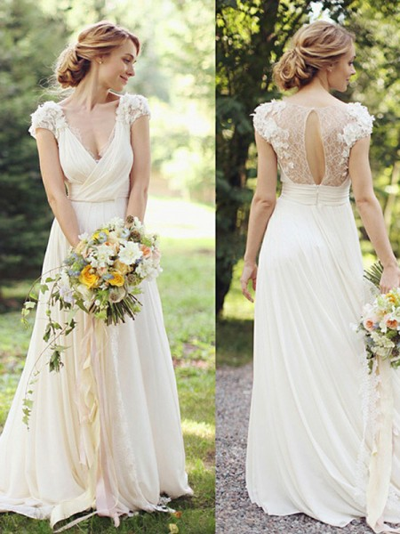 A-Line/Princess Sweep/Brush Train Ruched V-neck Short Sleeves Chiffon Wedding Dresses
