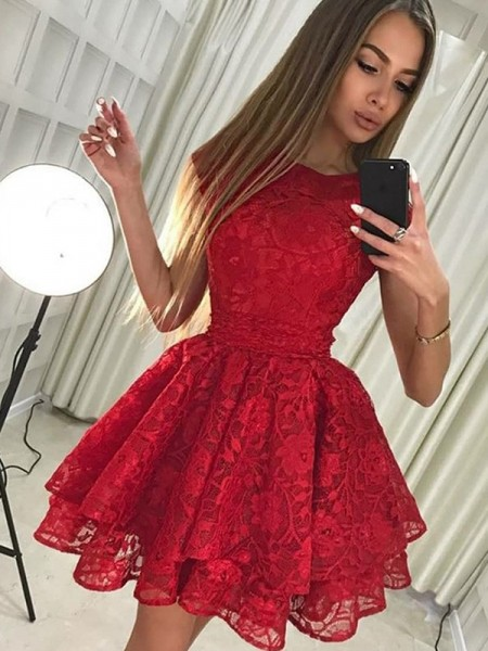 A-Line/Princess Lace Short/Mini Scoop Sleeveless Lace Dresses