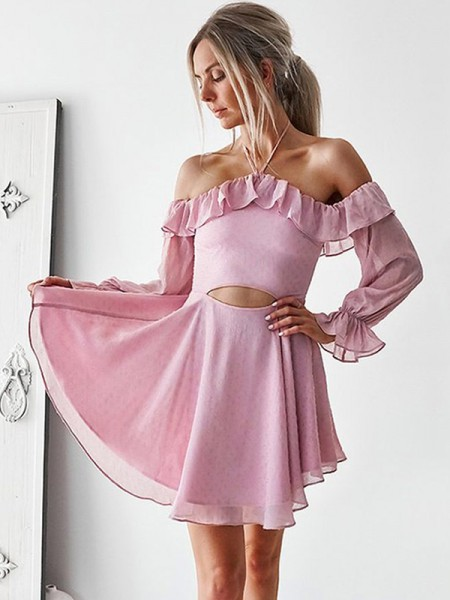 A-Line/Princess Ruffles Short/Mini Off-the-Shoulder Long Sleeves Chiffon Dresses
