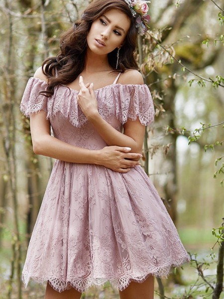 A-Line/Princess Ruffles Short/Mini Off-the-Shoulder Sleeveless Lace Dresses