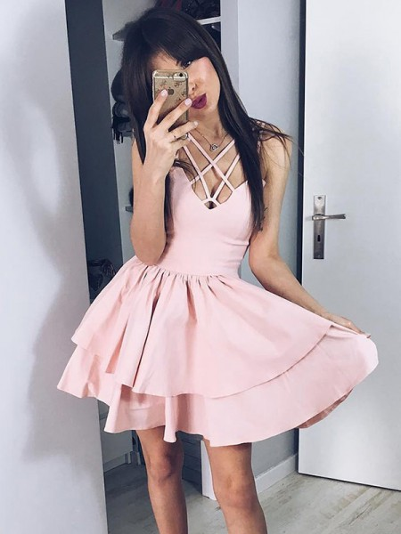 A-Line/Princess Ruffles Short/Mini Spaghetti Straps Sleeveless Satin Dresses