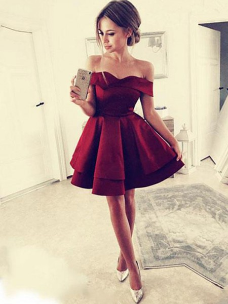 A-Line/Princess Ruffles Short/Mini Off-the-Shoulder Sleeveless Satin Dresses