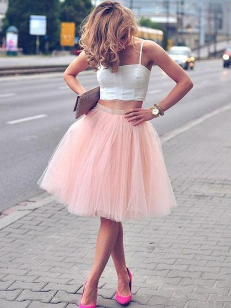 A-Line/Princess Pleats Knee-Length Spaghetti Straps Sleeveless Tulle Two Piece Dresses