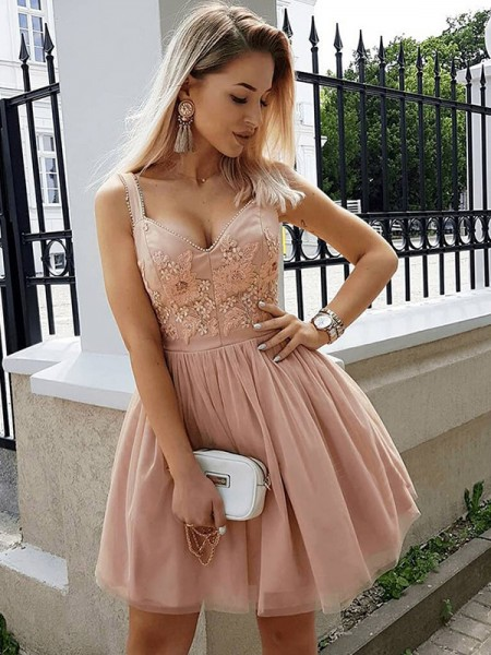 A-Line/Princess Beading Short/Mini Straps Sleeveless Tulle Dresses