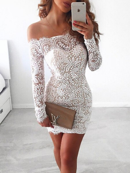 Sheath/Column Lace Short/Mini Off-the-Shoulder Long Sleeves Lace Dresses