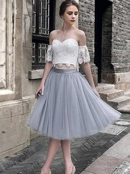 A-Line/Princess Lace Tea-Length Sweetheart Sleeveless Tulle Dresses