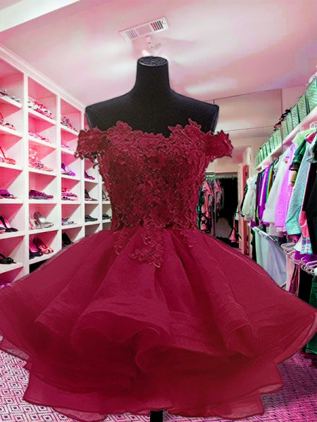 Ball Gown Applique Short/Mini Off-the-Shoulder Sleeveless Organza Dresses