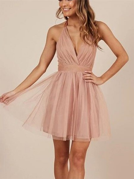 A-Line/Princess Ruffles Short/Mini Halter Sleeveless Tulle Dresses