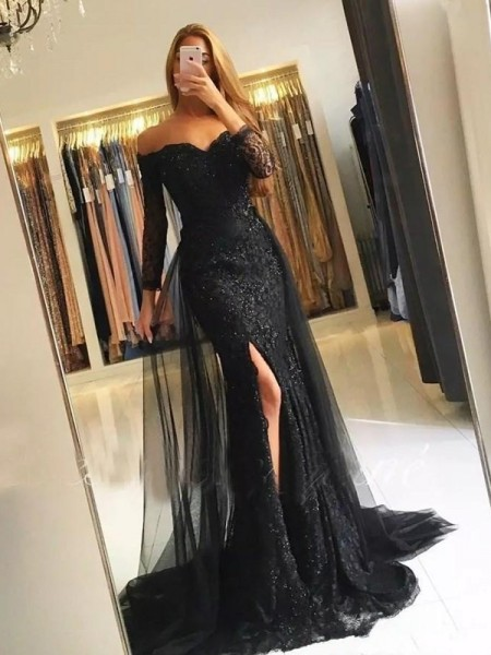 Trumpet/Mermaid Lace Sweep/Brush Train Off-the-Shoulder Long Sleeves Tulle Dresses