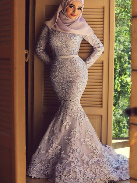 Trumpet/Mermaid Ruffles Sweep/Brush Train Scoop Long Sleeves Lace Muslim Dresses