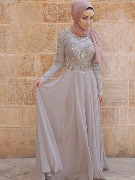 A-Line/Princess Crystal Sweep/Brush Train Scoop Long Sleeves Tulle Muslim Dresses