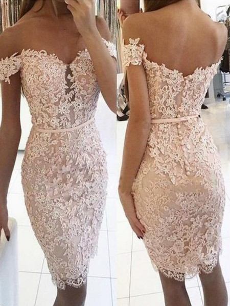 Sheath/Column Lace Knee-Length Off-the-Shoulder Sleeveless Lace Dresses